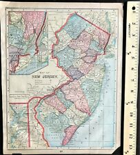 Authentic 1889 Original Color Map  NEW JERSEY - MARYLAND - DELAWARE 2-Sided Rare