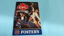 1989 CFL LEAGUE SCHEDULE***WINNIPEG BLUE BOMBERS GREY CUP***FOSTERS***