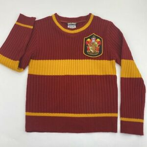Harry Potter Gryffindor Charades Boys Quidditch Sweater Red Stripe Ribbed Crew L