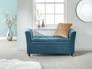 Blue Genoa Storage Ottoman Window Bench Seat Upholstered Fabric With Button Top
