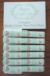 Set 6 Treasures by Shabby Chic CLOTHESPINS Pink Roses w/Mint Green Design