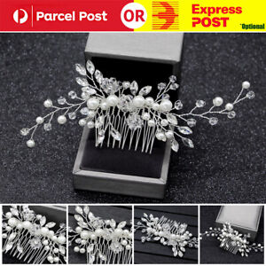 Bridal Headpieces Crystal Wedding Accessories White Jewelry Hair Comb Party AU
