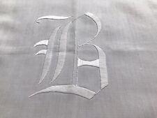 2 Antique Runners Monogram B White Linen Victorian Hand Embroidered Hem Edged