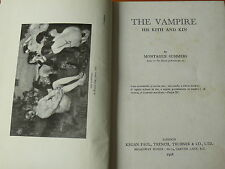 The Vampire: His Kith and Kin  Montague Summers.  1928.  1st Edition.