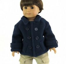 "Lovvbugg Navy Pea Coat for 18"" American Girl or Boy Doll Clothes WOW Selection"