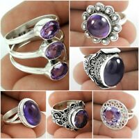 Natural Amethyst Gemstone Handmade Ring 925 Sterling Silver Jewelry US Size 9