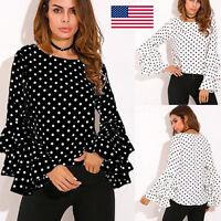 Fashion Women's Bell Long Sleeve Loose Polka Dot Shirt Ladies Casual Blouse Tops