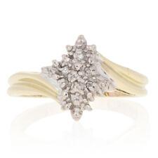 Yellow Gold Diamond Ring - 10k Single Cut Accents Bypass Women's