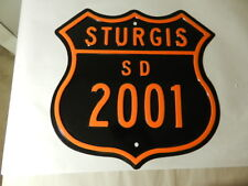 STURGIS MOTORCYCLE RALLY ROAD  SIGN- HARLEY DAVIDSON COLORS-VINTAGE MOTORCYCLE