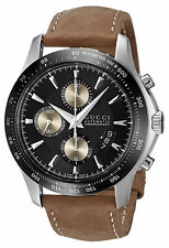 Gucci G-Timeless YA126240 Automatic Chronograph Steel Brown Leather Men's Watch