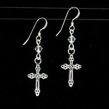 *SJ1* 3D Cross Charm Sterling Silver Hook Dangle Earrings w/ Upick Swarovski