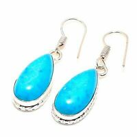 "Sleeping Turquoise Handmade Ethnic Style Jewelry Earring 1.38"" MS0959"