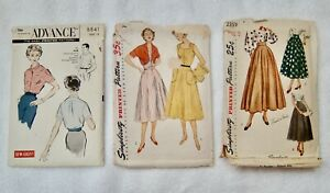 Vintage 1950 Simplicity Pattern 4282 Dress , Circle Skirt Blouse sewing lot of 3