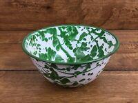Vintage Green Swirl Granite-ware Enamelware Bowl 5.5 Inch