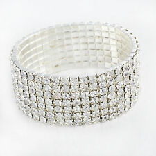 Womens CZ White Gold Filled For Any Party STRETCH Tennis Bracelet 7 Rows