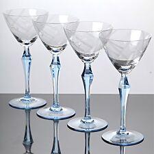 4 Weingläser 18,5 cm hohe Stängelgläser Hellblau Art Deco ~ 30er Jahre Glas