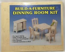 1980s Build-A-Furniture Dollhouse Dining Room Kit Wood No Glue/Tools Age 6+ 3981