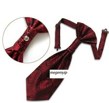 Wedding Ascot Scrunch Ruche Cravat Satin Pretie Tie Tuxedo Crystal Red Paisley
