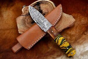 """8""""MH KNIVES CUSTOM HANDMADE DAMASCUS STEEL FULL TANG HUNTING/SKINNER KNIFE D-01W"""