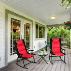 3pcs Folding Bistro Set Rocking Chair Cushioned Table Garden Furniture Red