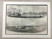 1855 Antico Navale Stampa Siege Di Sebastopoli Guerra Mare Capitano Vittoriano