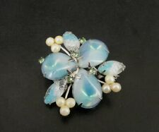 Brooch Vintage Blue and Green Stones Rhinestone Faux Pearl Silver Plate Pin