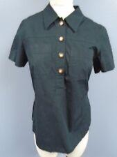 SONIA RYKIEL JEANS Black Cotton Blend Button Front Short Sleeve Top Sz M DD1487