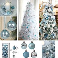 24 PCS Christmas Tree Mix Light Blue Ball Ornaments Shatterproof Home Decoration