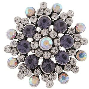Purple Opal Clear Rhinestone 20mm Snap Charm For Ginger Snaps Magnolia Vine
