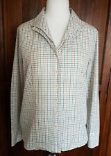 ORVIS Ladies White Checked Cotton Blend Double Collar Long Sleeves Shirt Size 14