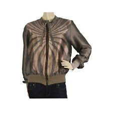Haute Metallic Gray Bronze Silk Short Bomber Like Style Zippered Jacket size 44