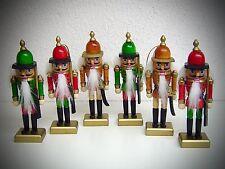6 Set Adorno Navidad Cascanueces con hilo para colgar 12cm Colores Madera 30167