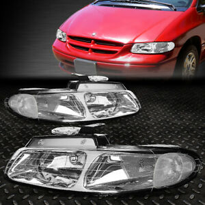 FOR 96-00 GRAND CARAVAN TOWN&COUNTRY CHROME HOUSING CLEAR CORNER HEADLIGHT LAMPS