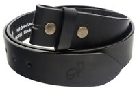 QHA Mens Snap On Belt Premium Full Grain Leather Strap Casual Gift No Buckle Q45