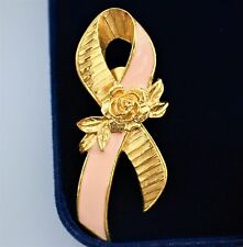 AVON signed Breast Cancer Avareness pink Ribbon gold tone rose qualit pin BROOCH