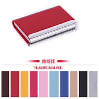 NEW Stainless steel Leather Business Credit ID Card Holder Case Wallet Gift