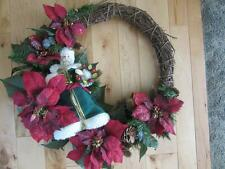"19"" GRAPEVINE CHRISTMAS WREATH POINSETTIEAS 11"" SANTA CLAUS FATHER CHRISTMAS"