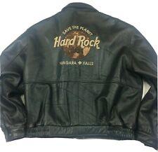 Vintage Hard Rock Cafe Niagara Falls Canada Leather Bomber Biker Jacket XXL