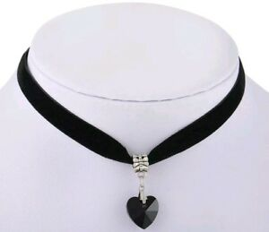 Velvet Black Choker Necklace valentine burlesque Gothic Choker with black Heart