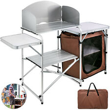 Camping Outdoor Kitchen Camping Cook Table 2-Tier Camping Kitchen Table