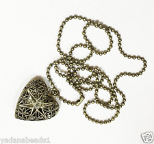 Antique brass filigree heart locket necklace with Iron ball chain