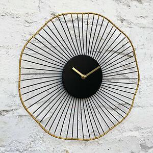 Modern Retro Black & Gold Wire Metal Round Quartz Home Bedroom Yoko Wall Clock