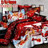 Winter Christmas Print Duvet Quilt Cover Bedding Set Pillowcases All Kin ✔