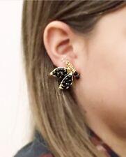 Handmade butterflies earrings, 14Ct gold filled, natural stones, onyx. Black.