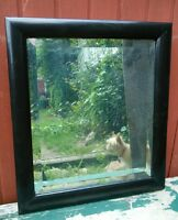 Vtg Beveled Mirror Wood and Chalk Painted Black Frame 1940's?