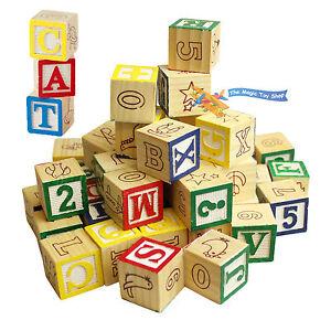 Wooden ABC 123 Building Blocks Cubes Kids Alphabet Letters Numbers Bricks Toy