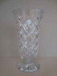 """Large Heavy Lead Crystal deep cut diamond pattern Vase 30cm tall or 10"""""""