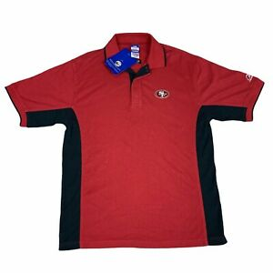Vintage San Francisco 49ers Polo Shirt Mens Medium Red Black Reebok NFL Football