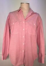 Lands End Womens SZ M (10-12) Red Button Front Shirt Long Sleeve Double Pockets