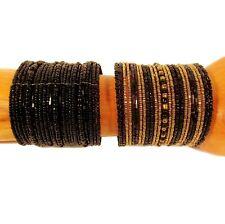 2 WIDE Black Gold Color Block Boho Handmade Beaded Cuff Bracelets Value Priced